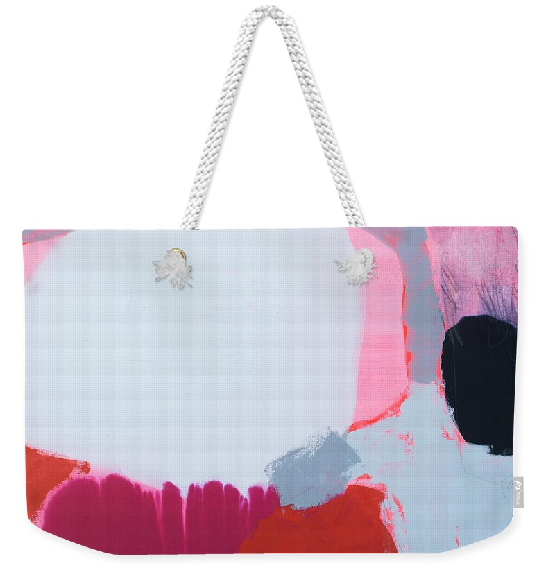 Abstract Weekender Tote Bag featuring the painting Pussycats In Pussy Hats by Claire Desjardins