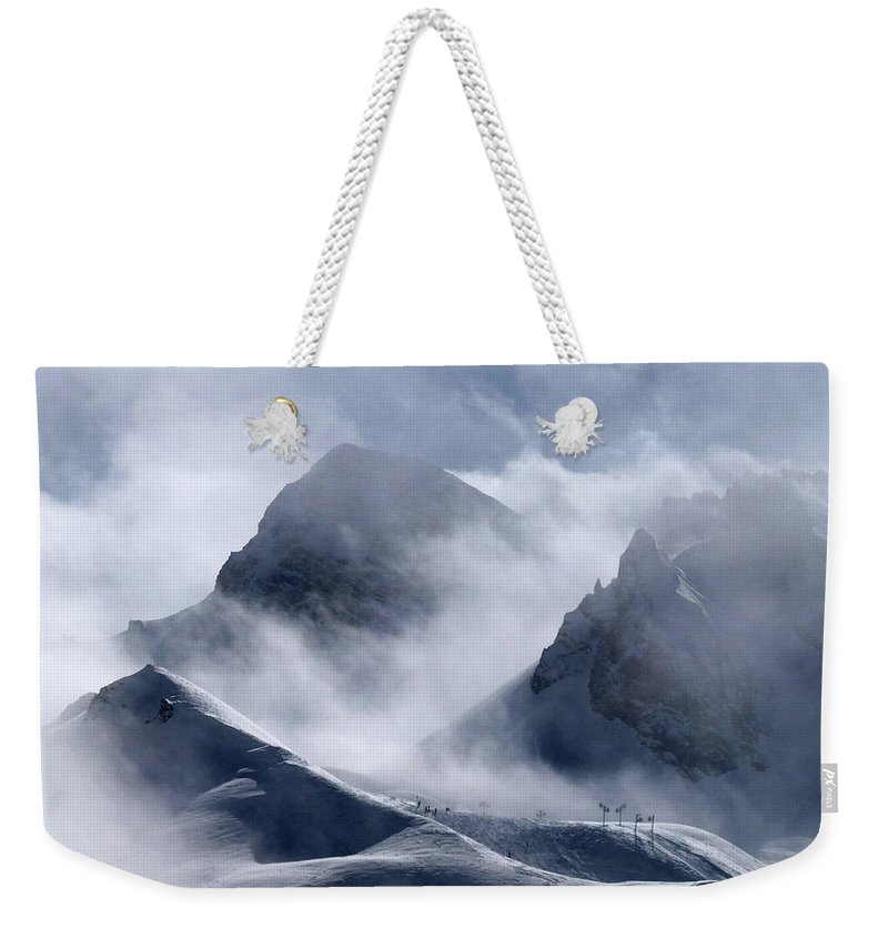 Scenics Weekender Tote Bag featuring the photograph Pyramide And Roc Merlet In Courchevel by Niall Corbet @ Www.flickr/photos/niallcorbet