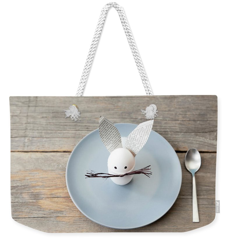 Holiday Weekender Tote Bag featuring the photograph Rabbit Decoration On Plate by Stefanie Grewel