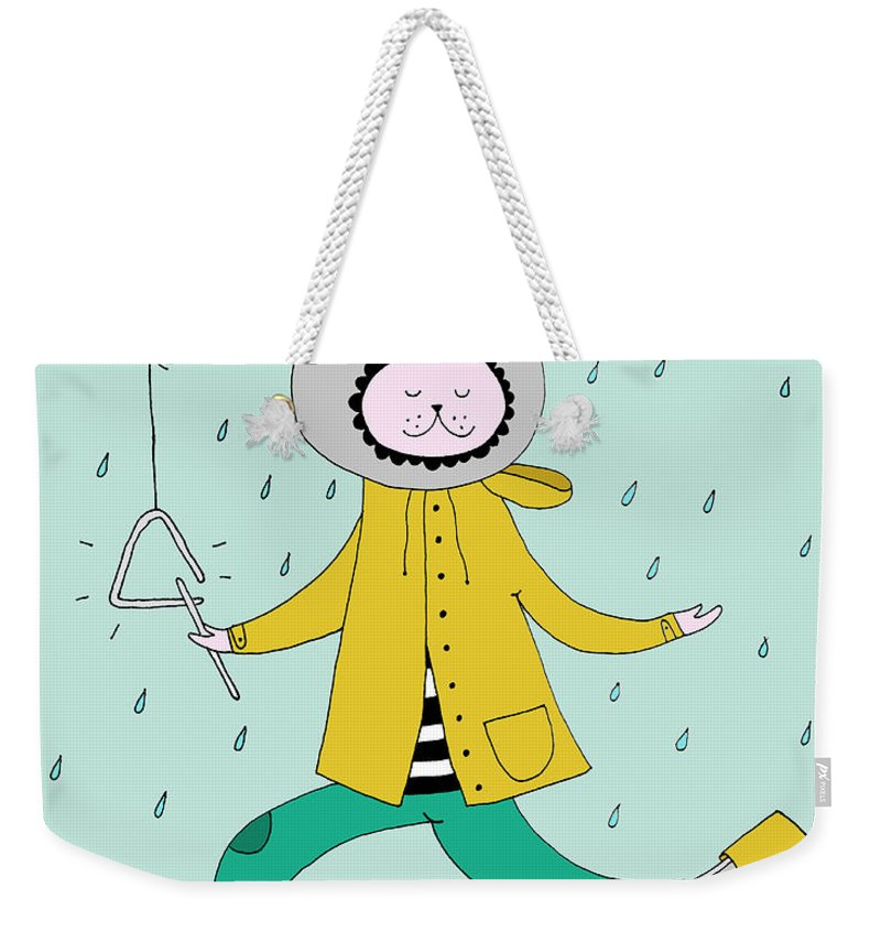 Animal Themes Weekender Tote Bag featuring the digital art Rabbit In Rain by Kristina Timmer