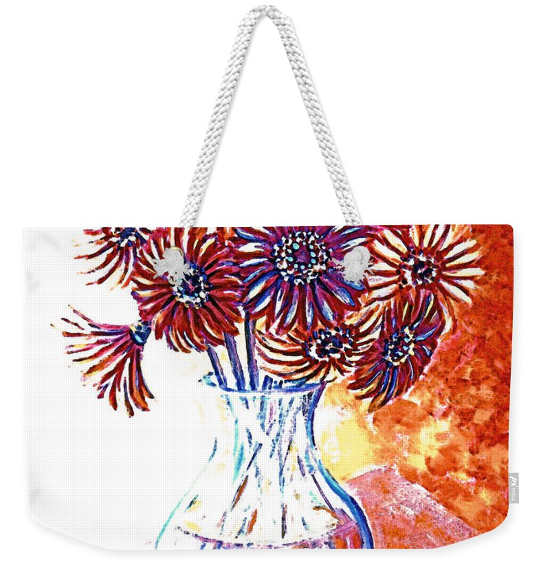 Flowers Weekender Tote Bag featuring the painting Radiant Array by Linda Mears