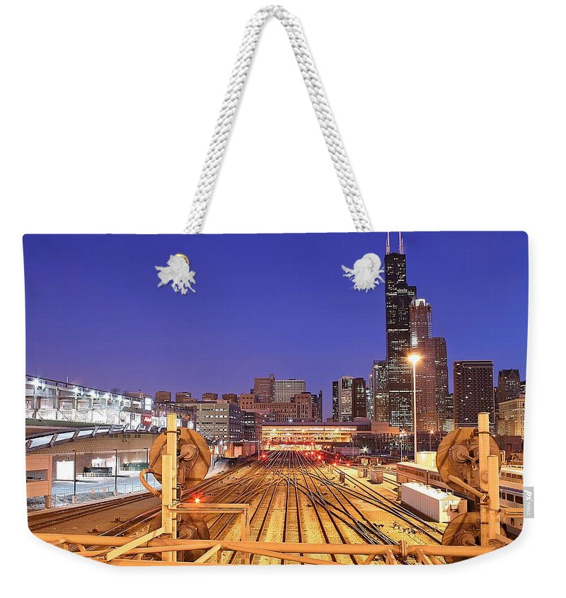 Railroad Track Weekender Tote Bag featuring the photograph Rail Tracks by Joseph Balynas