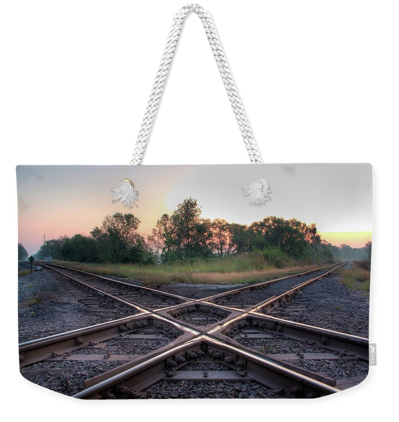 Grass Weekender Tote Bag featuring the photograph Railroad Diamond by Jerad Heffner
