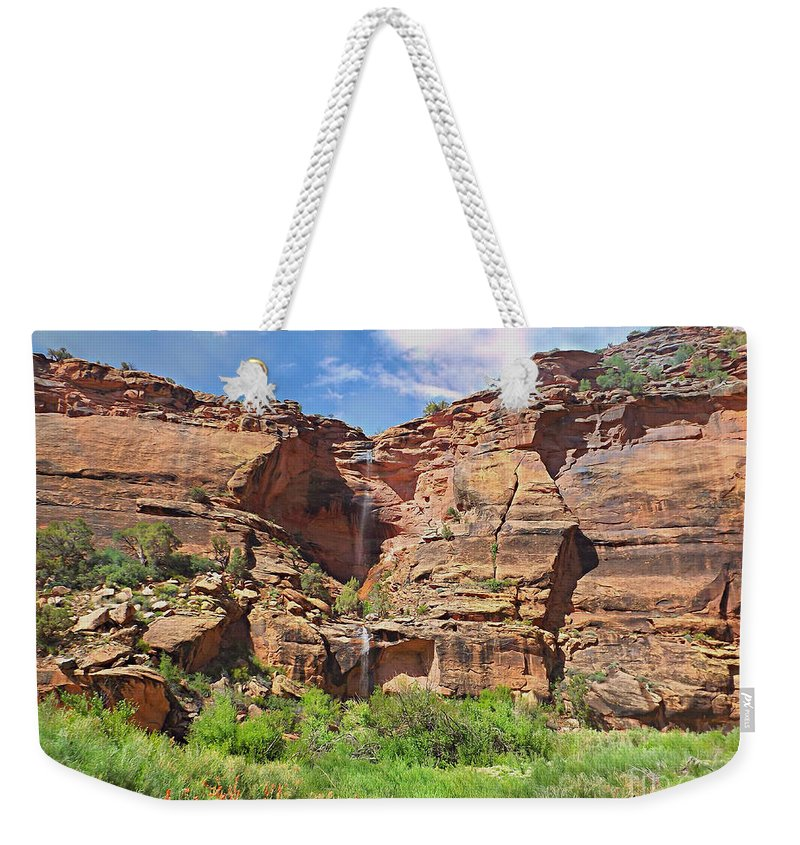 Rain Waterfall Off The Sandstone Cliffs Weekender Tote Bag featuring the digital art Rain waterfall off the standstone by Annie Gibbons