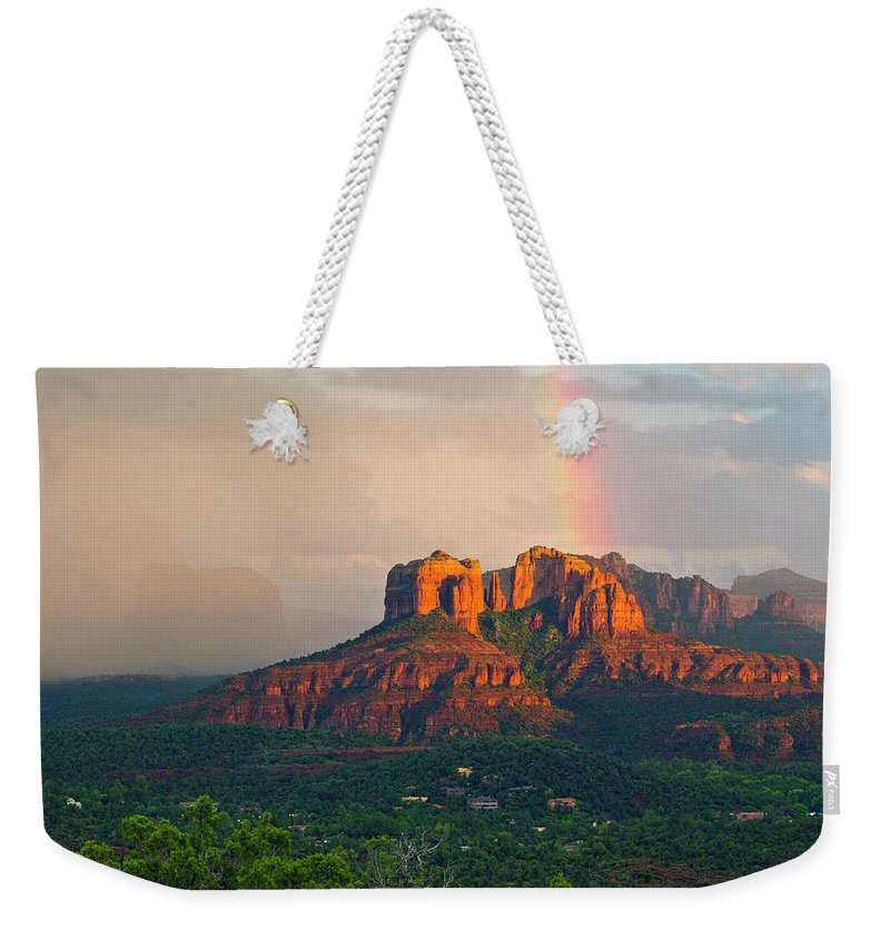 Scenics Weekender Tote Bag featuring the photograph Rainbow Over Arizona Scenery by Dougberry