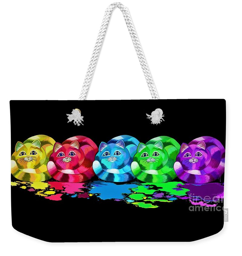 Cats Weekender Tote Bag featuring the digital art Rainbow Painted Cats by Nick Gustafson