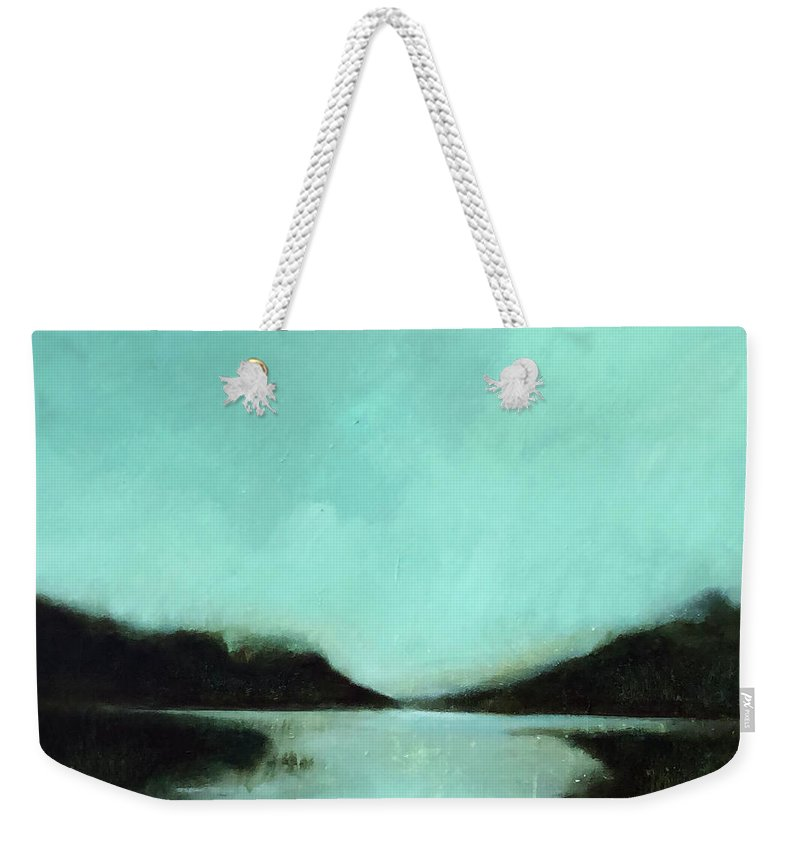 Landscape Painting Weekender Tote Bag featuring the painting Rainy Day At The Lake by Filomena Booth