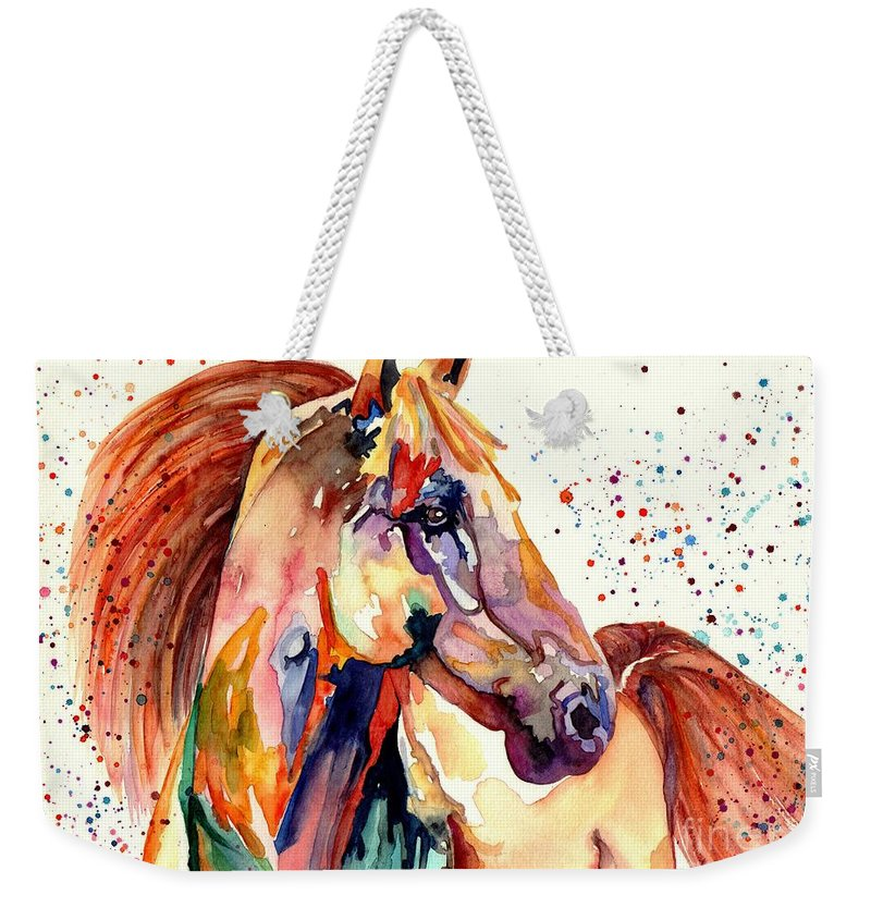 Watercolor Weekender Tote Bag featuring the painting Rainy Horse by Suzann Sines