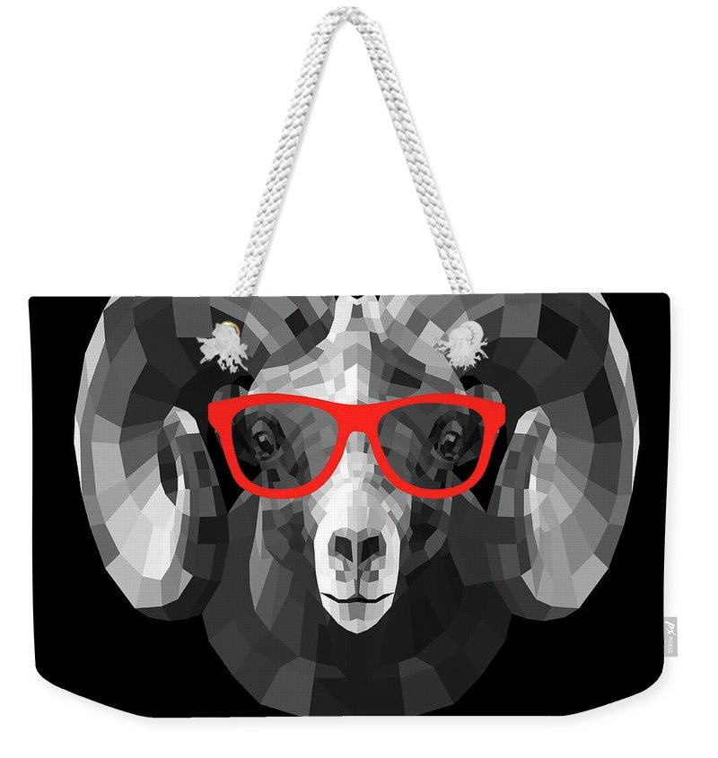 Ram Weekender Tote Bag featuring the digital art Ram In Red Glasses by Naxart Studio
