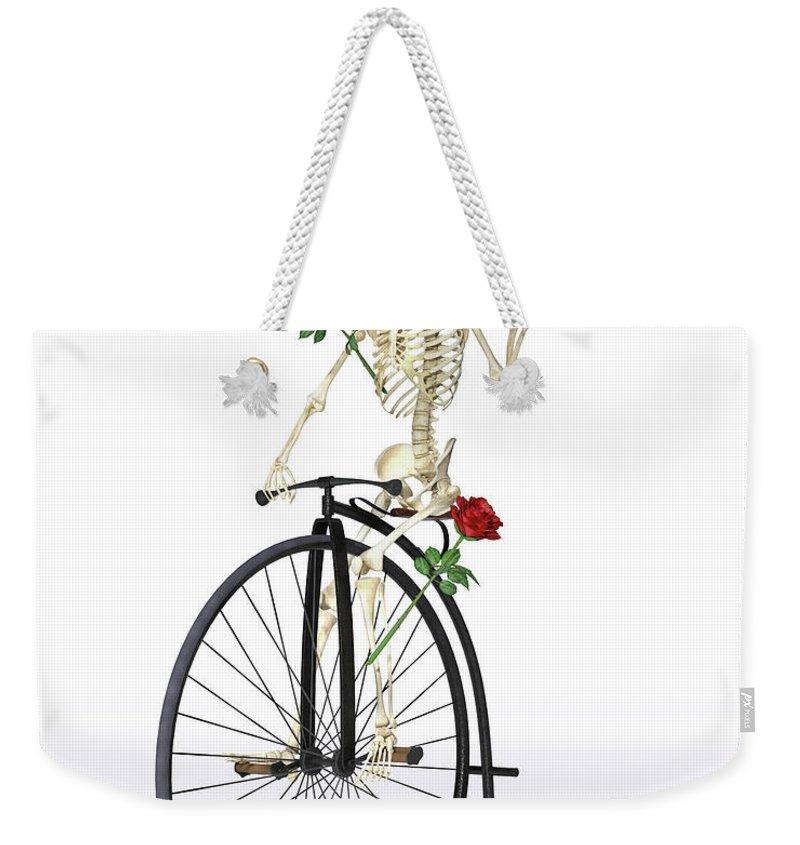 Skeleton Weekender Tote Bag featuring the digital art Rambling Rosy by Betsy Knapp