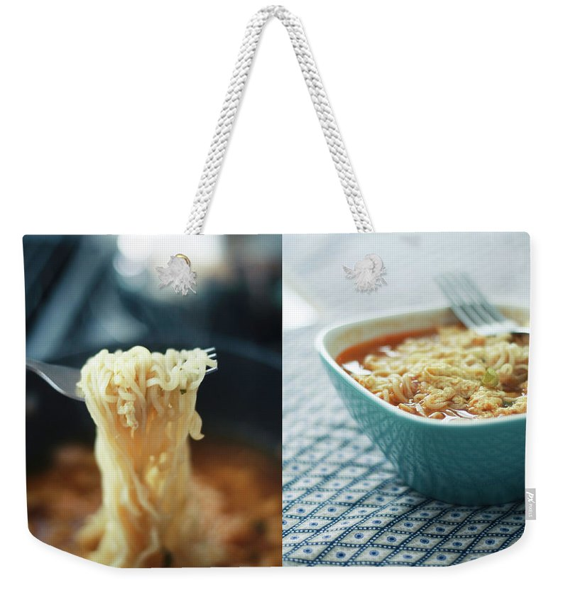 Kitchen Weekender Tote Bag featuring the photograph Ramen Noodles Diptych by Alice Gao Photography