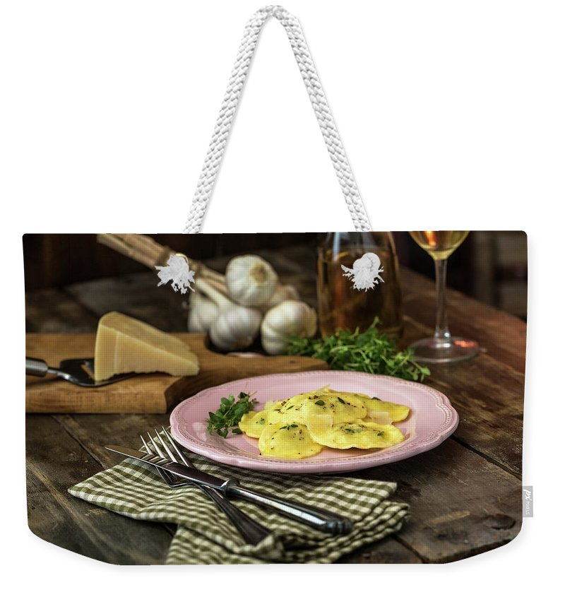 Stuffed Weekender Tote Bag featuring the photograph Ravioli Pasta by Gmvozd
