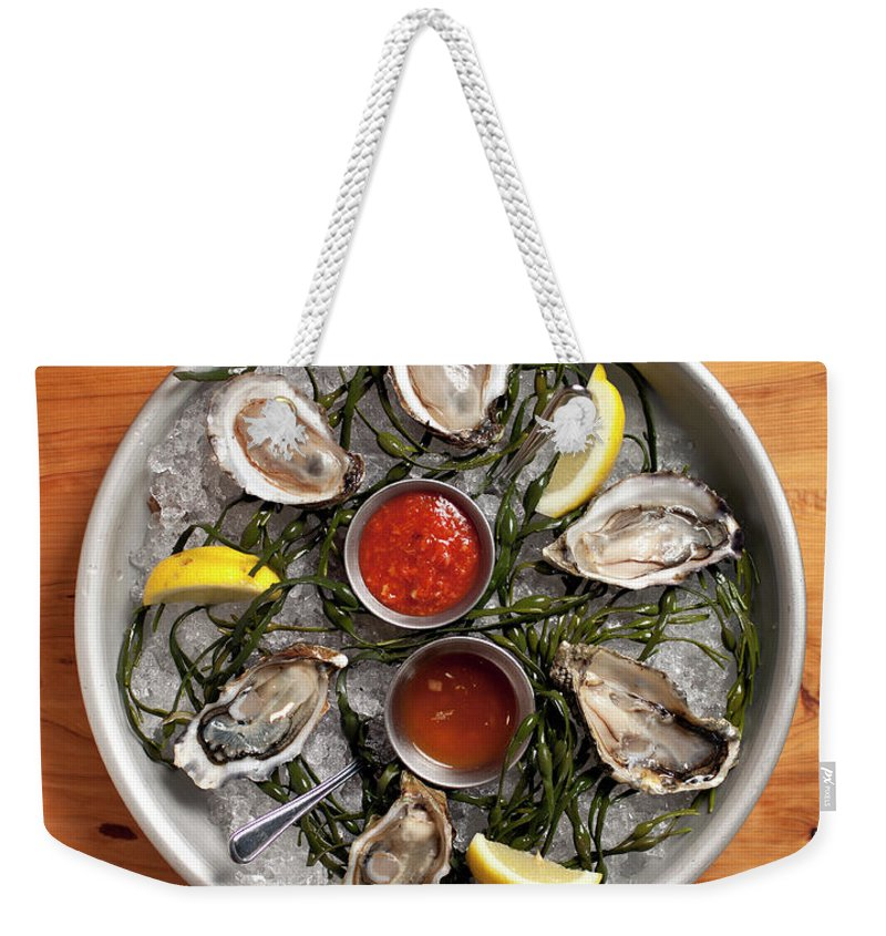 Oyster Weekender Tote Bag featuring the photograph Raw Oyster Platter by Lara Hata