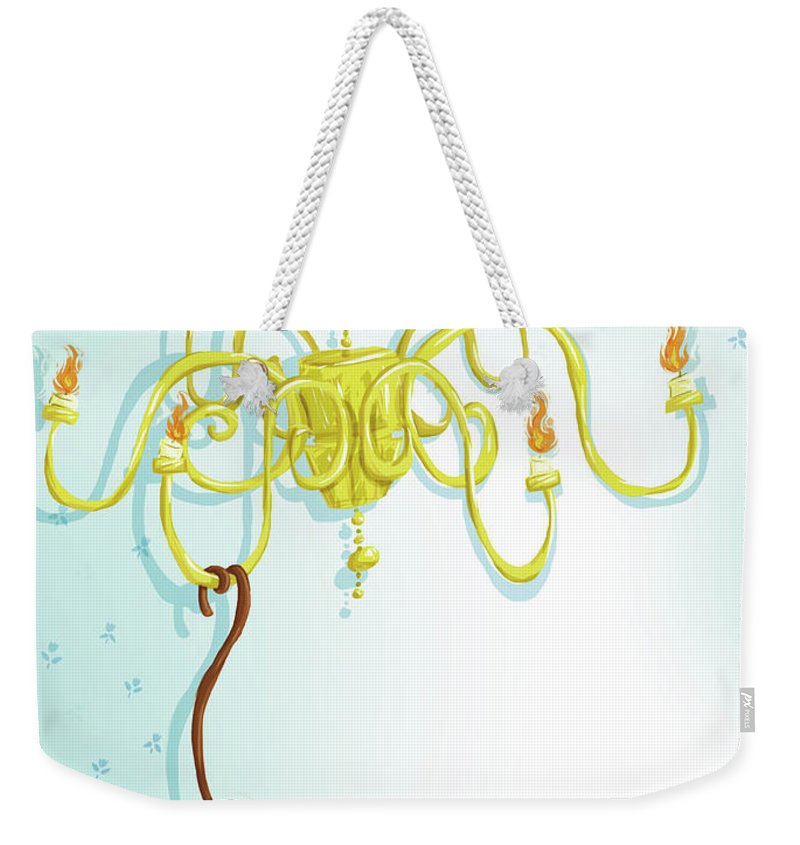 Hanging Weekender Tote Bag featuring the digital art Reading Monkey by Gabrieletafuni-illustrator