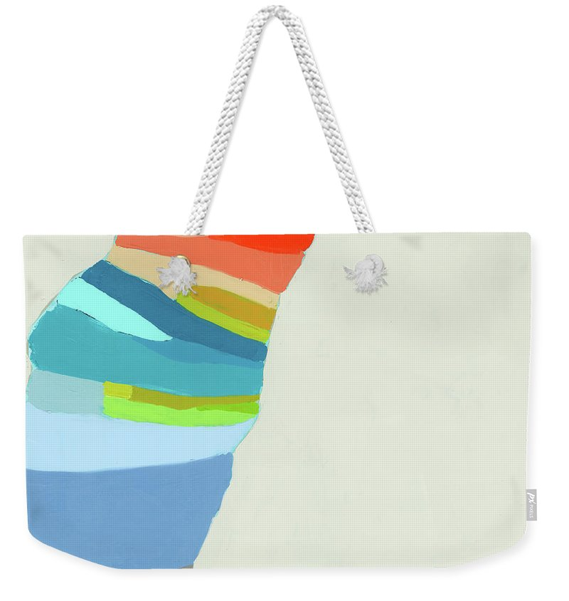 Abstract Weekender Tote Bag featuring the painting Ready To Make A Splash by Claire Desjardins