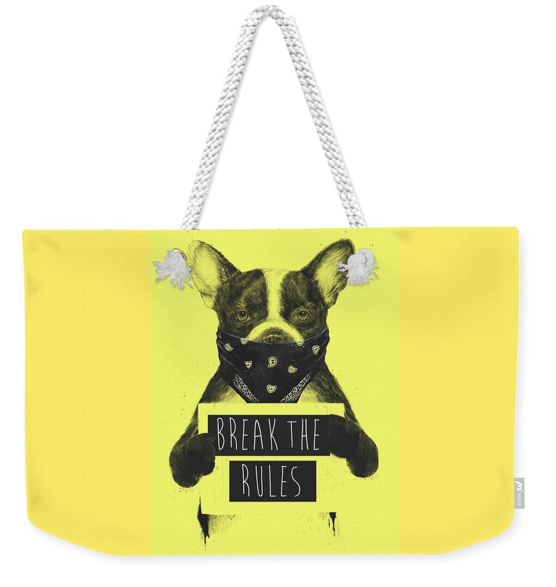 Dog Weekender Tote Bag featuring the mixed media Rebel Dog II by Balazs Solti