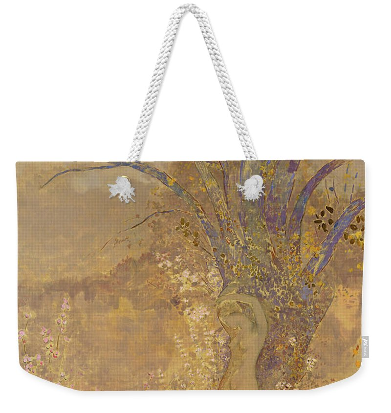 Odilon Redon Weekender Tote Bag featuring the painting Rebirth, Spring, 1908 by Odilon Redon