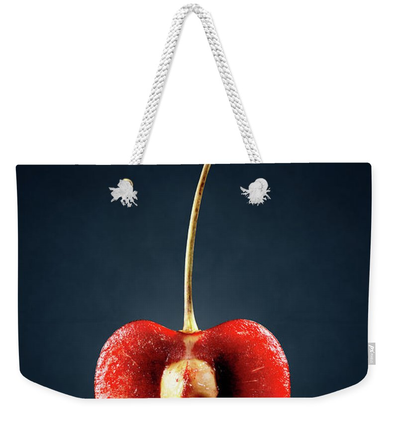 Cherry Weekender Tote Bag featuring the photograph Red Cherry Still Life by Johan Swanepoel