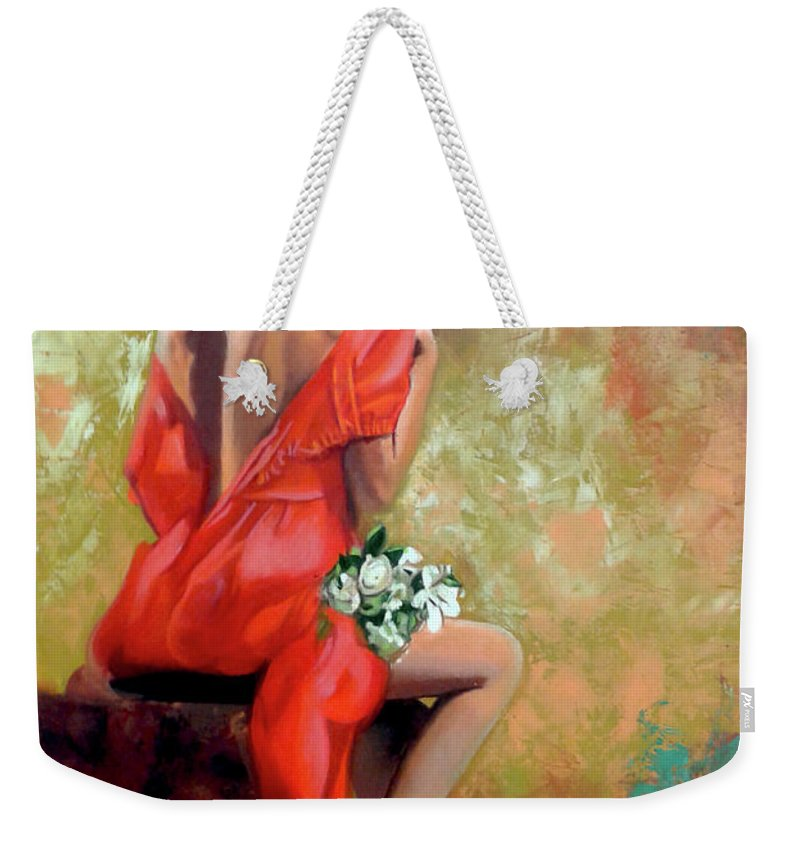 Women Weekender Tote Bag featuring the painting Red Lady 2 by Jose Manuel Abraham