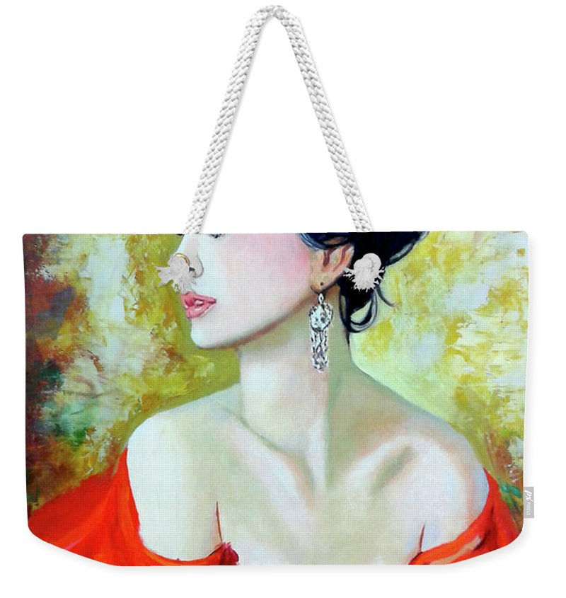 Lady Weekender Tote Bag featuring the painting Red Lady by Jose Manuel Abraham