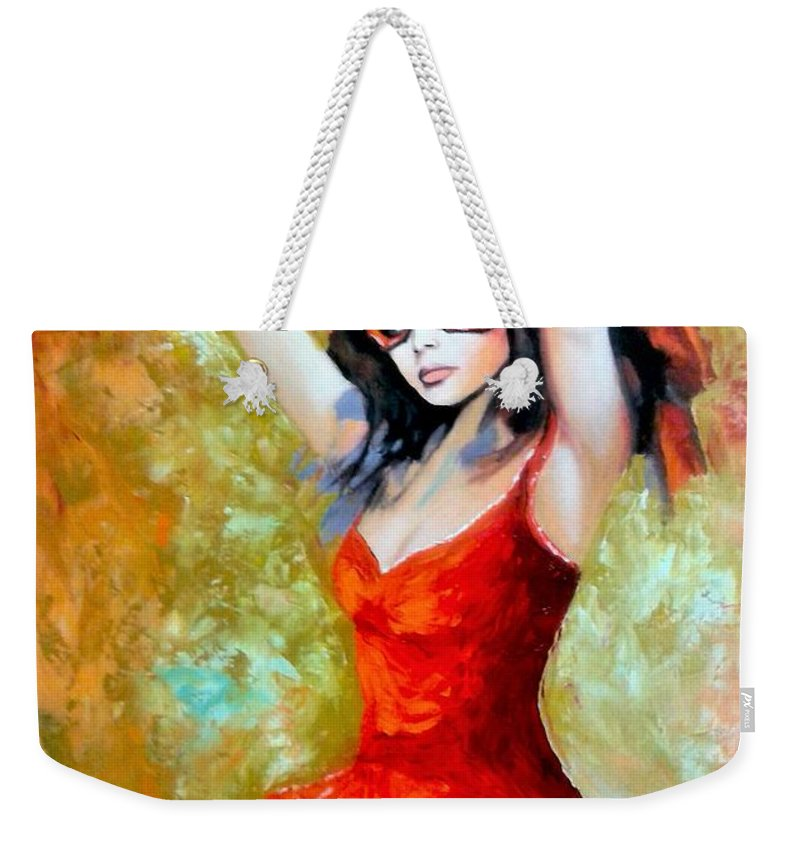 Women Weekender Tote Bag featuring the painting Red Mask Lady by Jose Manuel Abraham