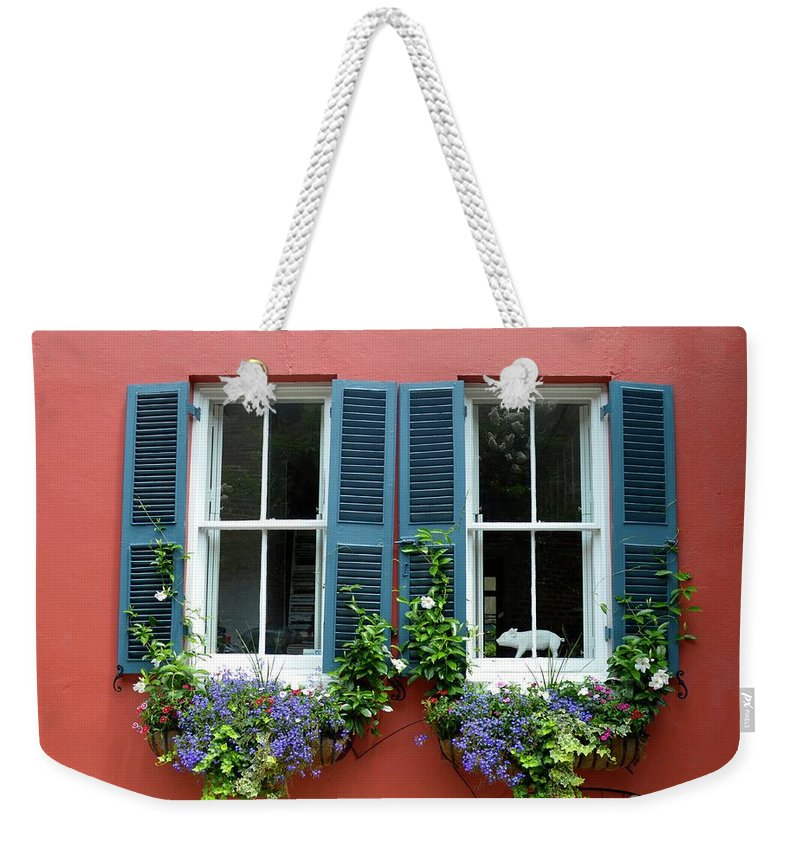 Shutter Weekender Tote Bag featuring the photograph Red Wall With Windows, Charleston by Mark Swick