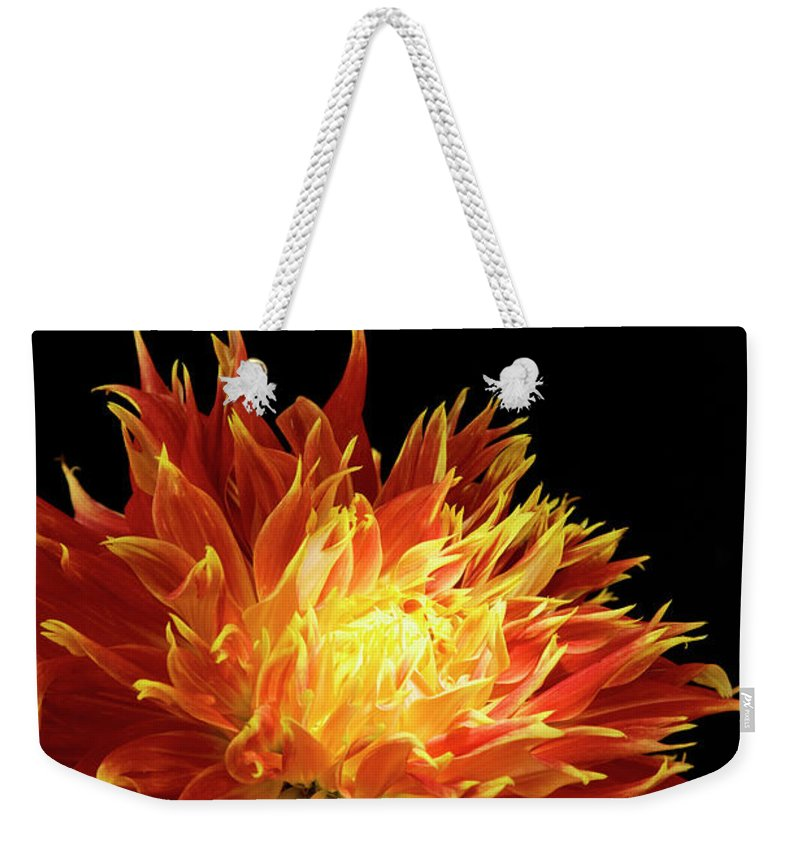 Firework Display Weekender Tote Bag featuring the photograph Red-yellow Dahlia Flower by Eyepix