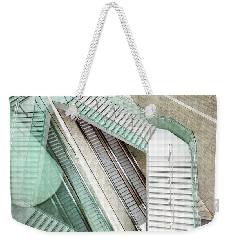 Long Weekender Tote Bag featuring the photograph Reflected Modern Architecture - Winding by Georgeclerk