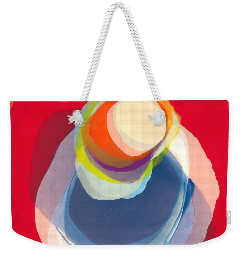 Abstract Weekender Tote Bag featuring the painting Reflective by Claire Desjardins
