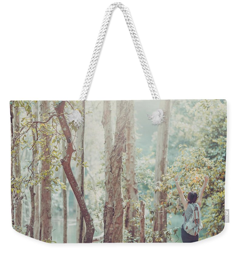 Three Quarter Length Weekender Tote Bag featuring the photograph Relaxing In Nature By Stretching And by D3sign