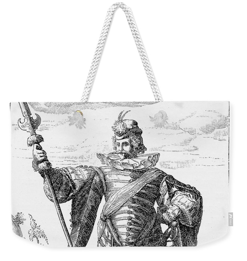1600 Weekender Tote Bag featuring the drawing Renaissance Mercenary Soldier N.1 by Luisa Vallon Fumi