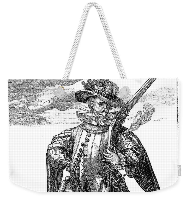 1600 Weekender Tote Bag featuring the drawing Renaissance Mercenary Soldier N.6 by Luisa Vallon Fumi