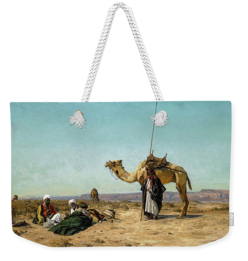 Eugen Bracht Weekender Tote Bag featuring the painting Rest In The Syrian Desert, 19th Century by Eugen Bracht