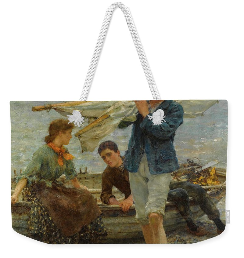 Henry Scott Tuke Weekender Tote Bag featuring the painting Return From Fishing, 1907 by Henry Scott Tuke