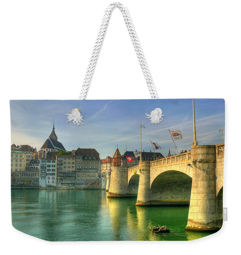 Outdoors Weekender Tote Bag featuring the photograph Rhine Bridge In Basel by Richard Fairless