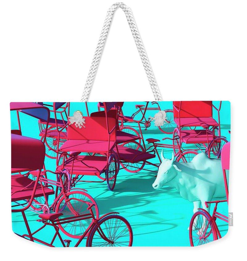 Rickshaw Weekender Tote Bag featuring the digital art Rickshaws and Cow by Heike Remy