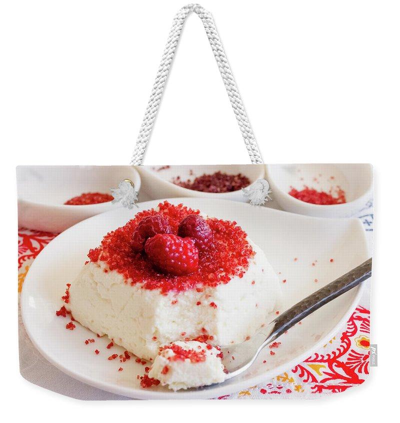 Sugar Weekender Tote Bag featuring the photograph Ricotta With Raspberry Sugar by Katya Lyukum