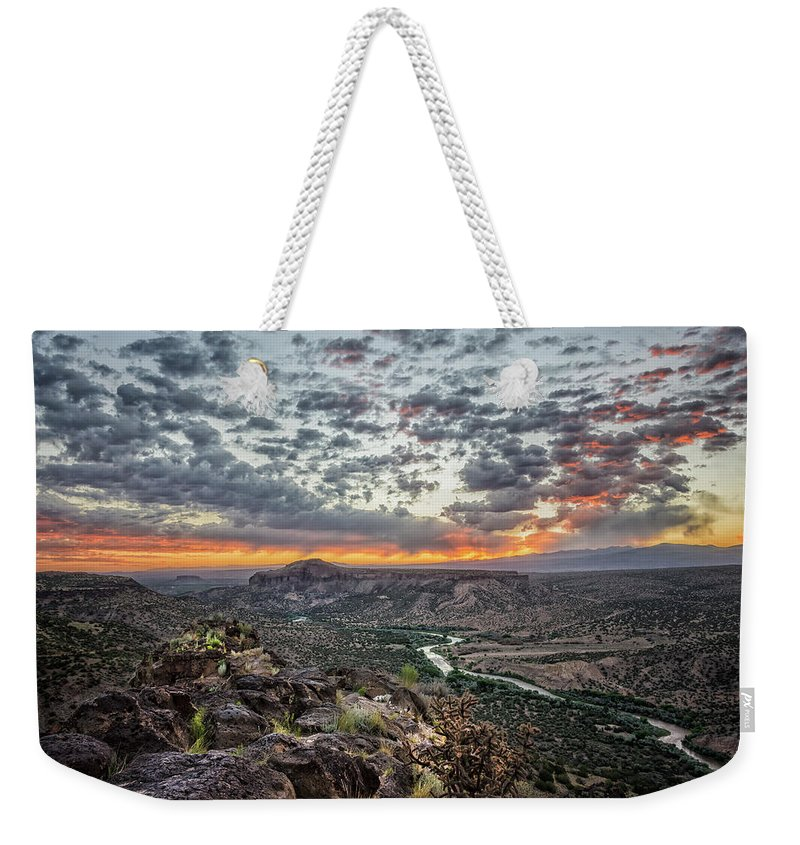 Rio Grande Weekender Tote Bag featuring the photograph Rio Grande River Sunrise 2 - White Rock New Mexico by Brian Harig