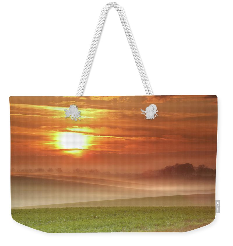 Tranquility Weekender Tote Bag featuring the photograph Ripples In Mist by Andy Freer