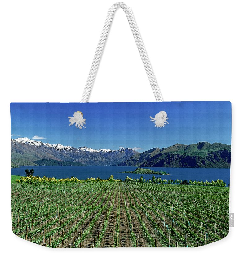Snow Weekender Tote Bag featuring the photograph Rippon Vineyard & Lake Wanaka, South by Robin Smith