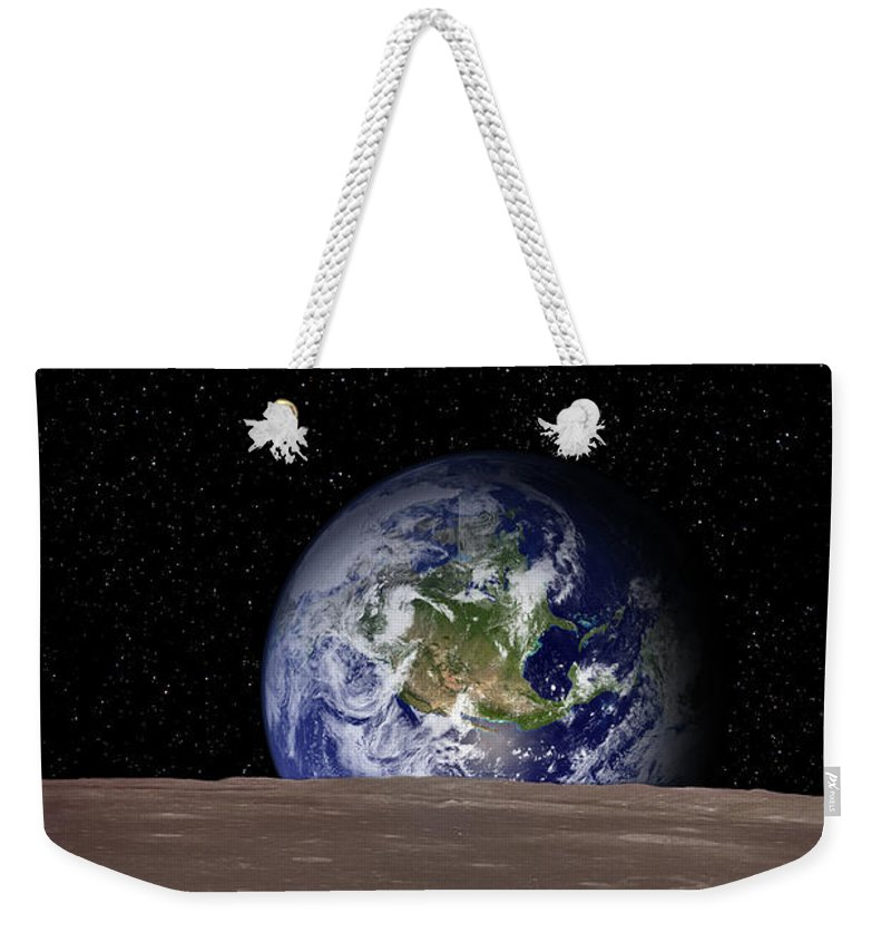 Landscape Weekender Tote Bag featuring the photograph Rising Earth Over Moon Surface by Photovideostock