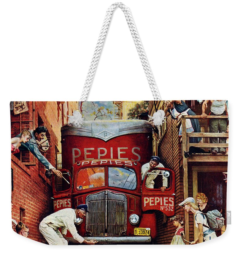 Alleys Weekender Tote Bag featuring the drawing Road Block by Norman Rockwell