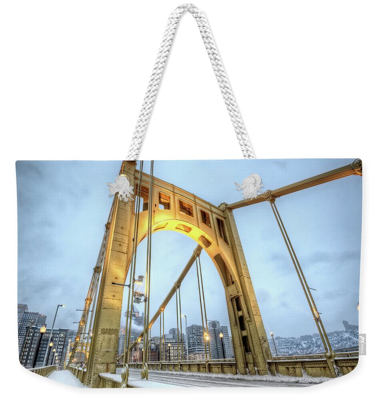 Arch Weekender Tote Bag featuring the photograph Roberto Clemente Bridge by Hdrexposed - Dave Dicello Photography