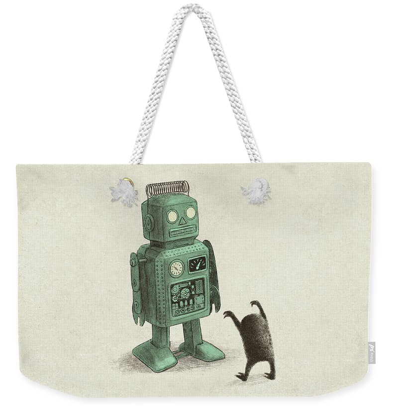 Vintage Weekender Tote Bag featuring the drawing Robot Vs Alien by Eric Fan