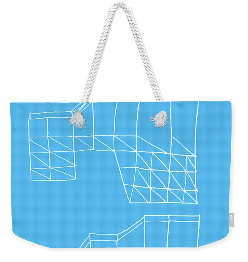 Yifat Gat Weekender Tote Bag featuring the drawing Robotricks by Yifat Gat