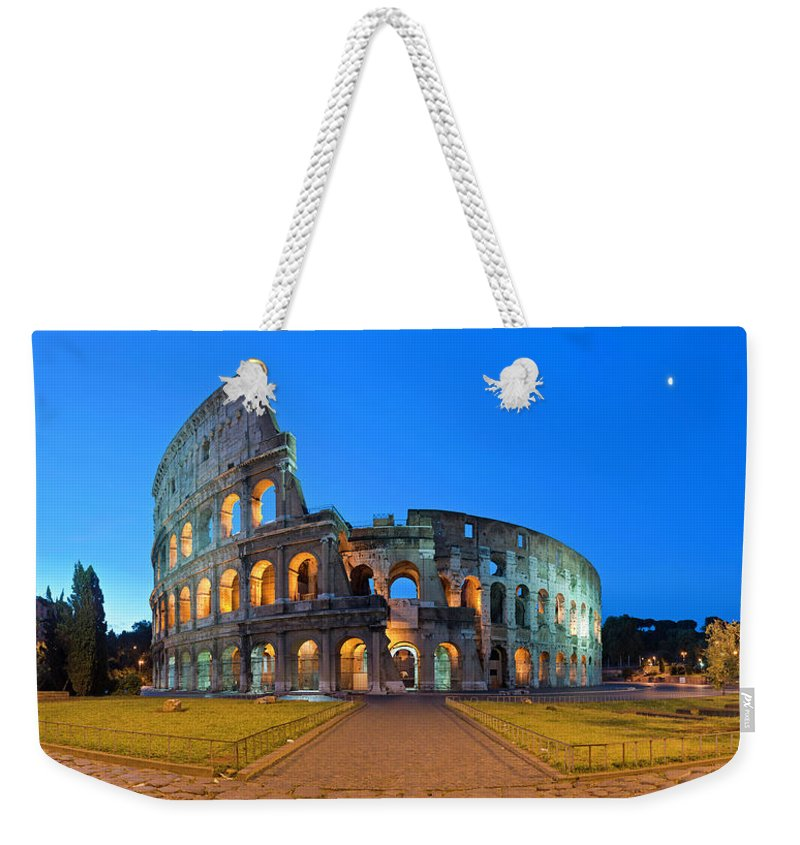 Arch Weekender Tote Bag featuring the photograph Rome Coliseum Ancient Roman by Fotovoyager