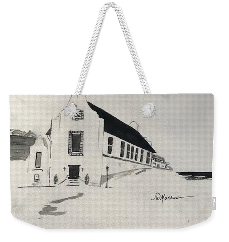 Watercolor Weekender Tote Bag featuring the painting Rosemary Beach Courthouse by Jill Morris