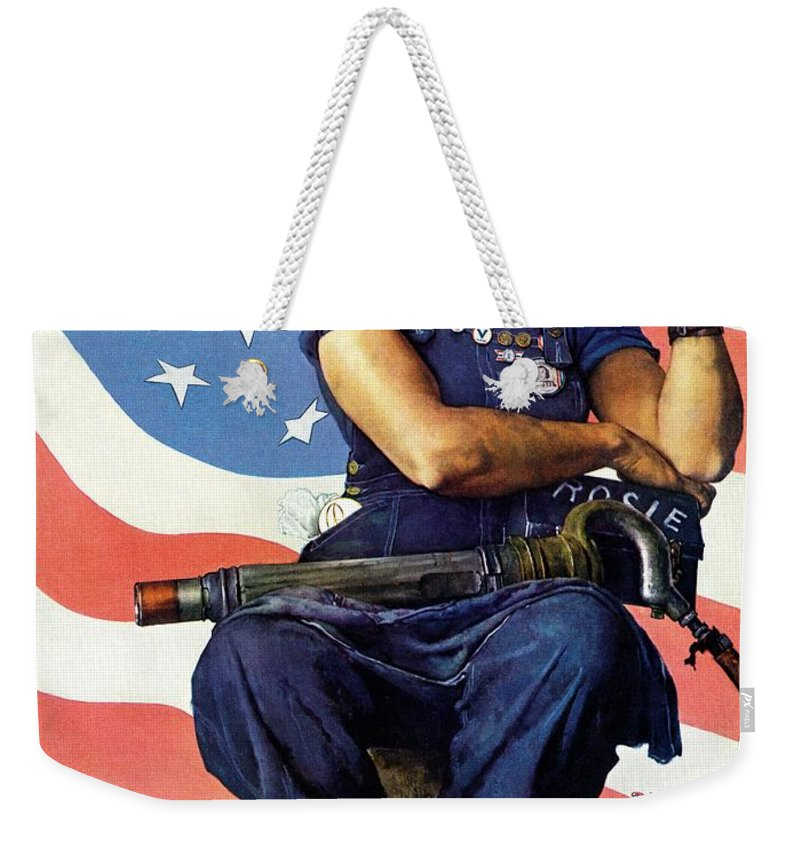 Factories Weekender Tote Bag featuring the drawing Rosie The Riveter by Norman Rockwell