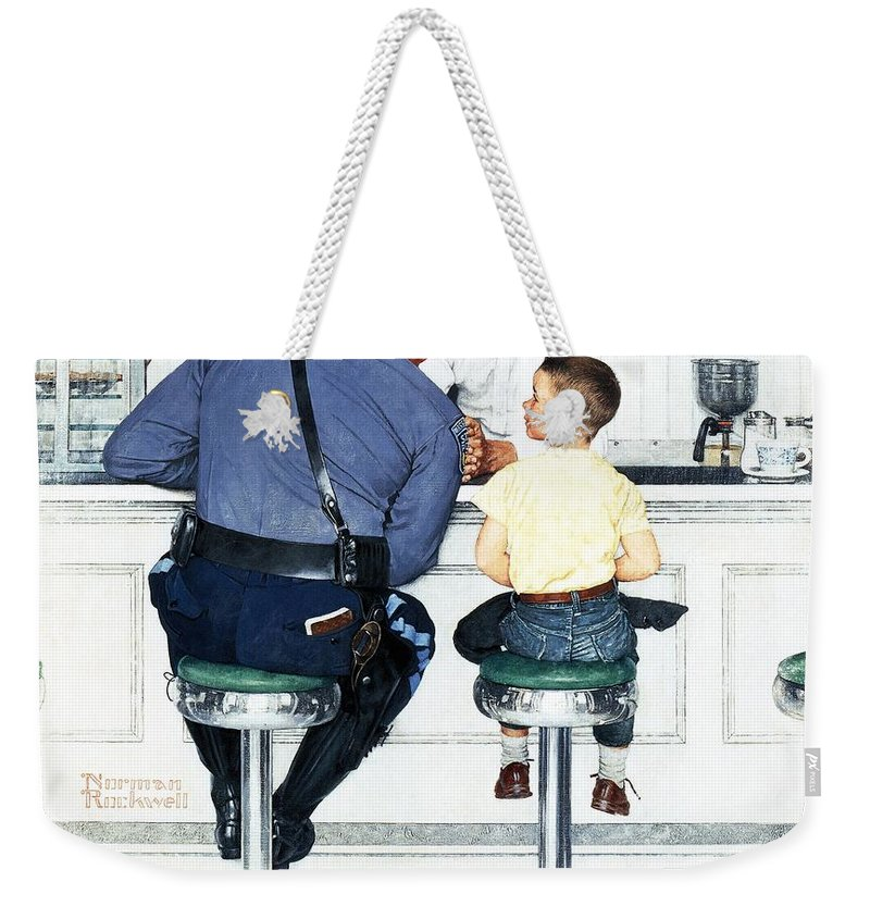 Boy Weekender Tote Bag featuring the drawing Runaway by Norman Rockwell