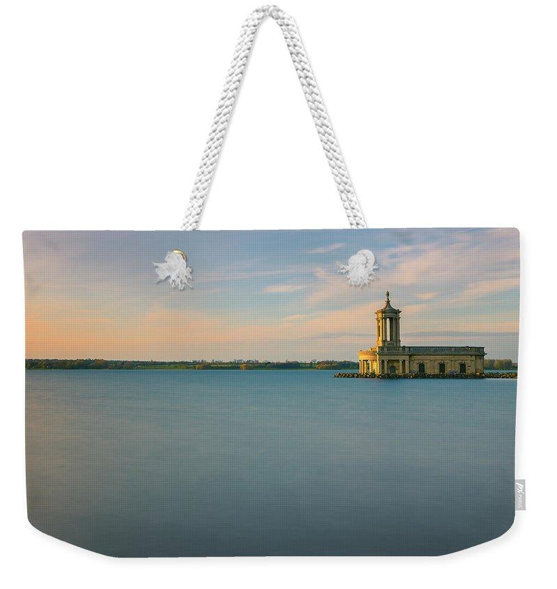 Landmark Weekender Tote Bag featuring the digital art Rutland Water by Dariusz Stec